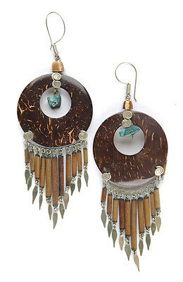 Coconut Shell Hook Earrings with Bamboo Drops & Turquoise Bead Handmade in Peru