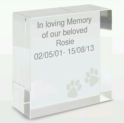 Personalised Pet Memorial Rememberance Keepsake Crystal Token Plaque Dog Cat