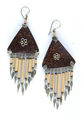 Ethnic Coconut Shell Triangles & Bamboo Drop Hook Earrings from Cuzco Peru.