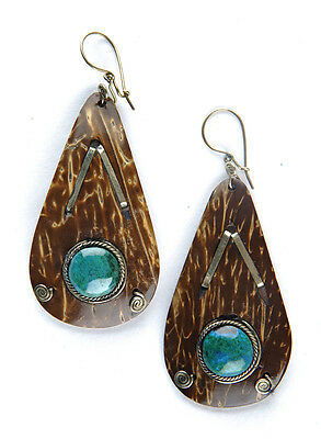 Ethnic Peruvian Brown Coconut Shell Drop Earrings with Turquoise Bead Fair Trade