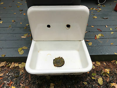 Antique 2 Piece Cast Iron High Back Vintage Farm Porcelain Sink D&M WKS