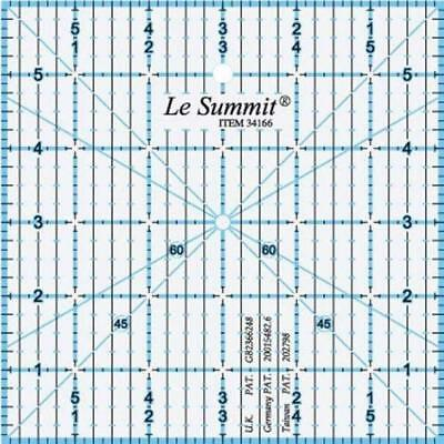 """summit QUILTING PATCHWORK ROTARY RULER 6 """" x 6 inch imperial measure"""