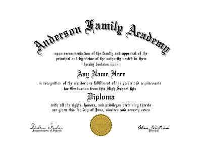 A Fun/Fake/Gag Un-Bordered High school-GED-College Diploma with Gold Seal