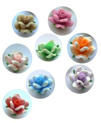 Beads - Fimo Polymer Clay 20x12mm - 3D Flowers in Various Colours x 8 beads