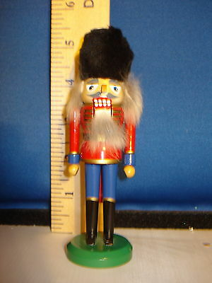 Nutcracker Wooden Mini with Furry Hat Old World Christmas 5 inches 73913  240