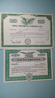 Vintage Stock Certificates(2)*ROVANE DENTAL SUPPLY*BASIC RESOURCES CORP 1969*
