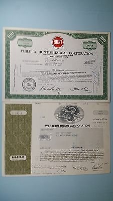 Vintage Stock Certificates(2)*PHILIP A HUNT CHEMICAL CO 1969*WESTERN UNION 1978*