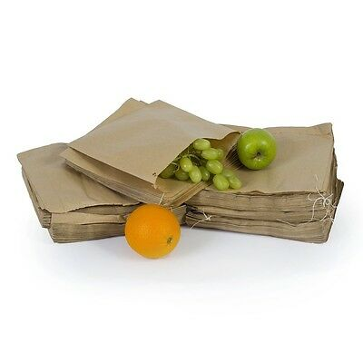 100x  Biodegradable Brown Kraft Paper  Food Bags Market Stalls  - 8.5'' x 8.5''