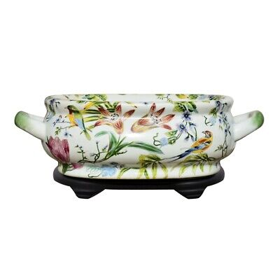 Multi Color Porcelain Foot Bath Basin Chinese Floral Bird Motif w Stand