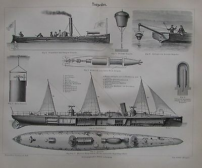 1889 TORPEDOS Original alter Druck antique print Lithographie