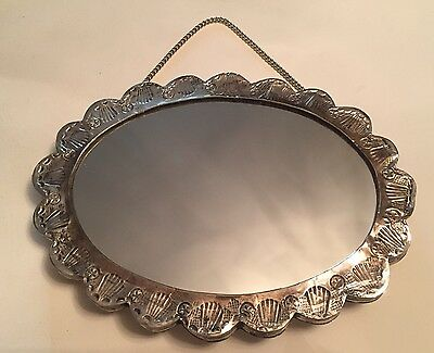 VINTAGE REPOUSSE STERLING SILVER MIRROR - In Original Box