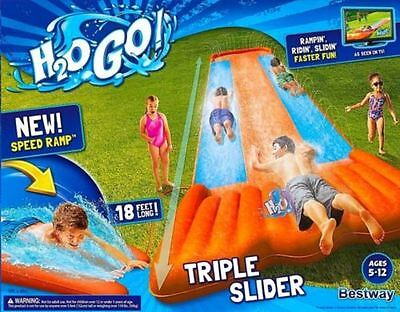 Go Inflatable Triple Slider Kids Outdoor 3 Person Water Slide Splash Lagoon New