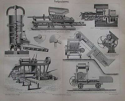 1889 TORFGEWINNUNG Original alter Druck Antique Print Lithographie
