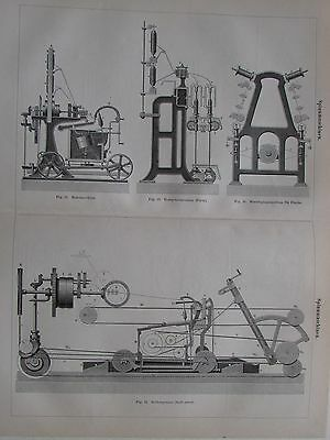 1889 SPINNMASCHINEN Original alter Druck Antique Print Lithographie