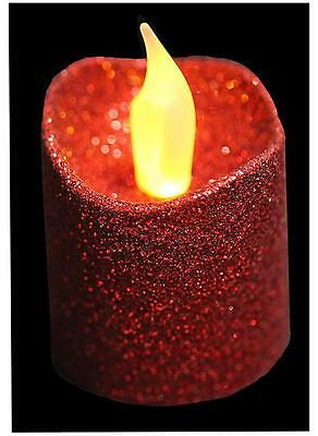 4 Red Glitter LED Flickering Christmas Tea Lights Electric Candles