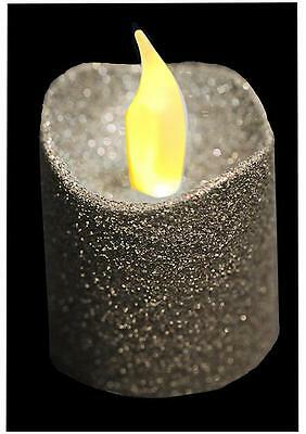 Pack Of 4 Silver Glitter LED Flickering Christmas Tea Lights Electric Candles