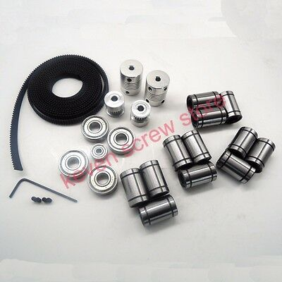 22 pcs/lot 3d printer reprap prusa i3 movement kit GT2 belt pulley 608zz bearing