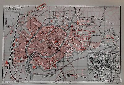 1889 STRASSBURG alter Stadtplana antique city map Lithographie