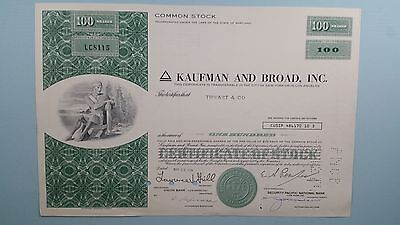 Vintage*KAUFMAN AND BROAD INC*Stock Certificate 1974