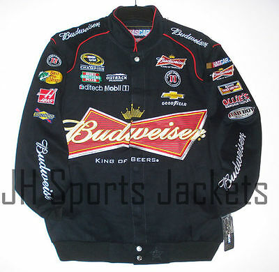 Nascar Kevin Harvick Bud Budweiser Cotton Jacket JH Design  Black 4XL