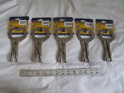 "(5) New Irwin 6"" Vise-Grip Locking C-Clamp 6SP, 2-1/8"" Capacity, free shipping!"