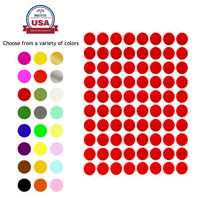 "Royal Green Round Stickers 1/2"" 24 Colors Available 1200 Pack 15 Sheets 13mm"