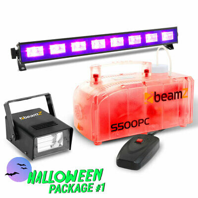 Halloween Lighting Pack with LED Smoke Machine, Mini Strobe and UV Black Lights