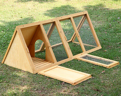 Rabbit Wood Triangle Decker Bunny Hutch Chicken Coop Hen Ferret Guinea Pig  Cage
