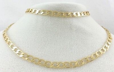 """Real 14k Yellow Gold Filled 24"""" 24 inch Solid Flat Cuban Link Chain Necklace 6mm"""