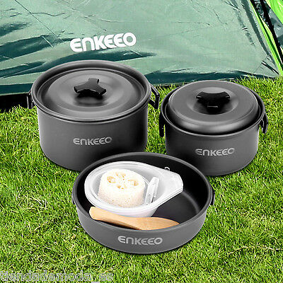 10Pcs Portable Camping Cook Cooking Cookware Frying Picnic Bowl Set Pots Pans AU