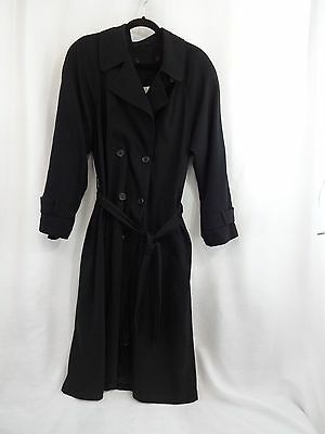 adc1b14c85c21 Julia Klein Sz 8 Long Black Trench Coat w/ Removable Liner Double Breasted  Belt