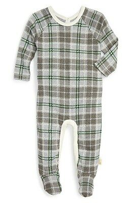 Burt's Bees Baby Boy Plaid Footed Coverall ~Heather Gray, Green & Ivory ~Organic