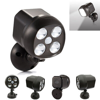 Battery-powered Spot Flood light 4 LED Motion Sensor Outdoor Security Wall Lamp