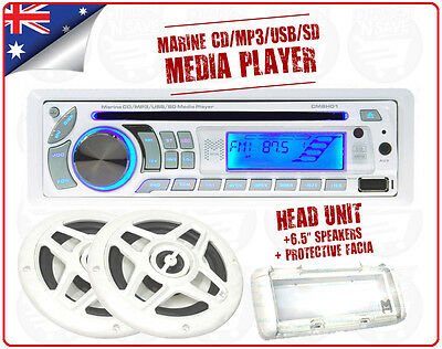 Boat CD Player Marine Flush Mount Radio CD MP3 USB SD + Speakers 4x25W CM8H01PK