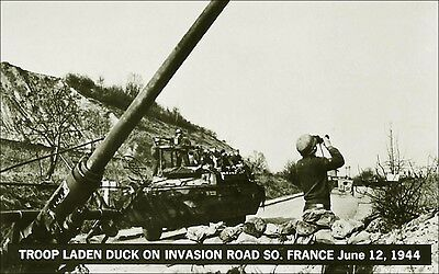 Military: Duck Vehicle, Troops: Invasion Road, S. France, 1944. Black & White.