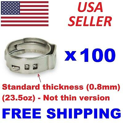 "100 pcs 3/4"" PEX Stainless Steel Ear Clamp Cinch Ring Crimp Pinch Fitting Tubing"