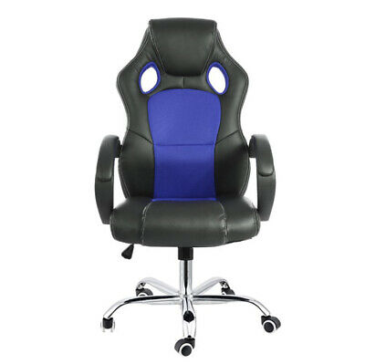 8 Point Massage Racing Office Chair Executive Heated Computer Leather Game Blue