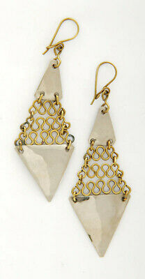 Silver-Coloured Brass Triangles & Chain Link Drop Earrings Handmade in Chile