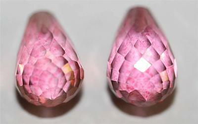 AAA Pink Topaz Faceted Half Drilled Pair Drops 9X6mm