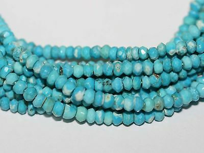 Sleeping Beauty Turquoise Faceted Rondelle 4mm Beads