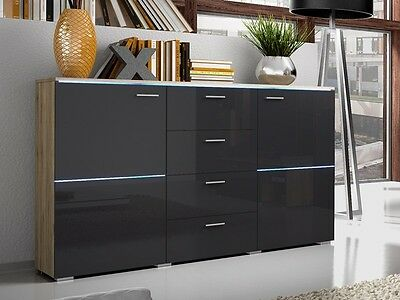 Modern Chest Of Drawers Cupboard Home Storage With Free Led Lights High Gloss