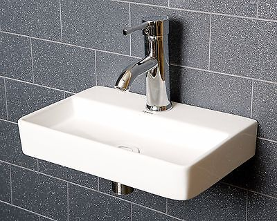 Small Shallow Bathroom Cloakroom Wash Basin Sink Wall Hung Square White V44