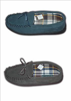 Mens Boys Slippers MOCC Moccasins Suede  Leather Brown Blue Sizes 6-12