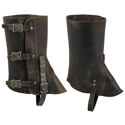 Swiss Army Leather Gaiters Leggings Black Used Boot Covers Motorcycle Mechanic