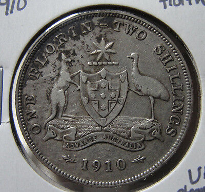 1910 Australia One Florin Two Shilling Very Fine Coin Cleaned VF