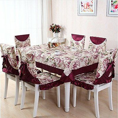E-TOP 1pc Tablecloth and 6pcs Chair Covers Sets - Polyester Rustic Vintage