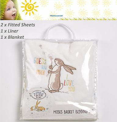 Guess How Much I Love You Moses Basket Bedding Set 2 Sheets, Liner & Blanket