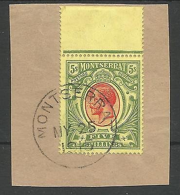 MONTSERRAT SG48 THE 1914 GV 5/- RED&GREEN/yellow VERY FINE USED MARGINAL C.£160