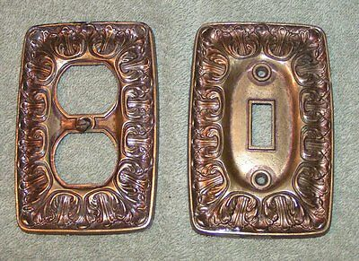 2 Vtg Antiq. Brass American Tack  BF141 Single Toggle switch plate/ Outlet Cover