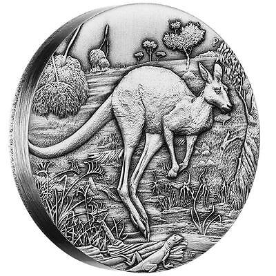 2016 Australian Kangaroo - 2oz High Relief Antiqued Silver Coin